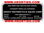 Ghost Motorcycle Sales Corp Dealer Decals Transfers DDQ105